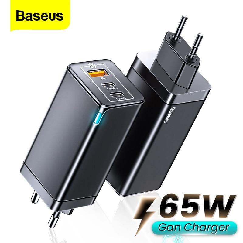 Baseus 65W גן USB סוג C מטען משודרג טלפון מתאם מטען עבור iPhone 12 11 עם 100W כבל QC3.0 מהיר טעינה עבור Xiaomi