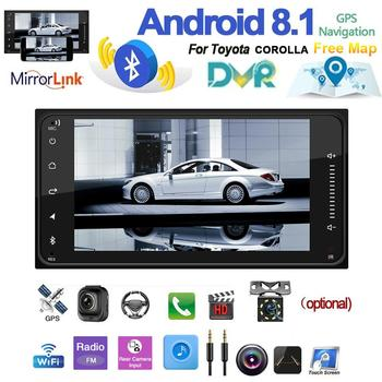 2-din Car Radio Android 8.1 Multimedia Player Autoradio Touch Screen GPS WIFI Bluetooth FM Audio Player For Vehicles Universal image