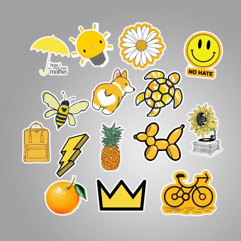 50Pcs Yellow small fresh Sticker Pack Vinyl Waterproof Trendy Water Bottle Laptop Stickers Decal Graffiti Patches