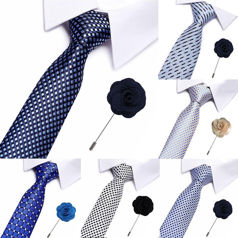 Luxury Neckties Men's Stripe Lattice Wedding Brooch Ties Jacquard Woven 7.5 Cm 100%Silk Men Tie Formal Dress Accessories Men Tie