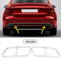Car Rear Throat Exhaust Tail Pipes Cover Muffler Tip Covers Trim Frame Sticker For Volvo S60 V60 2014 2015 216 2017 2018 2019