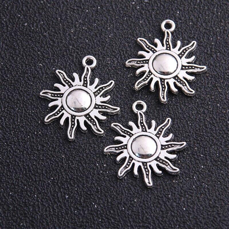 10 шт., 24*28 мм, Модные металлические подвески от солнца из цинкового сплава для изготовления ювелирных украшений, оптовая продажа