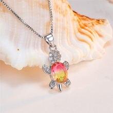 Boho feminino arco-íris pingente de cristal colar elegante prata cor corrente colares para mulheres bonito turtoise zircon colar de casamento