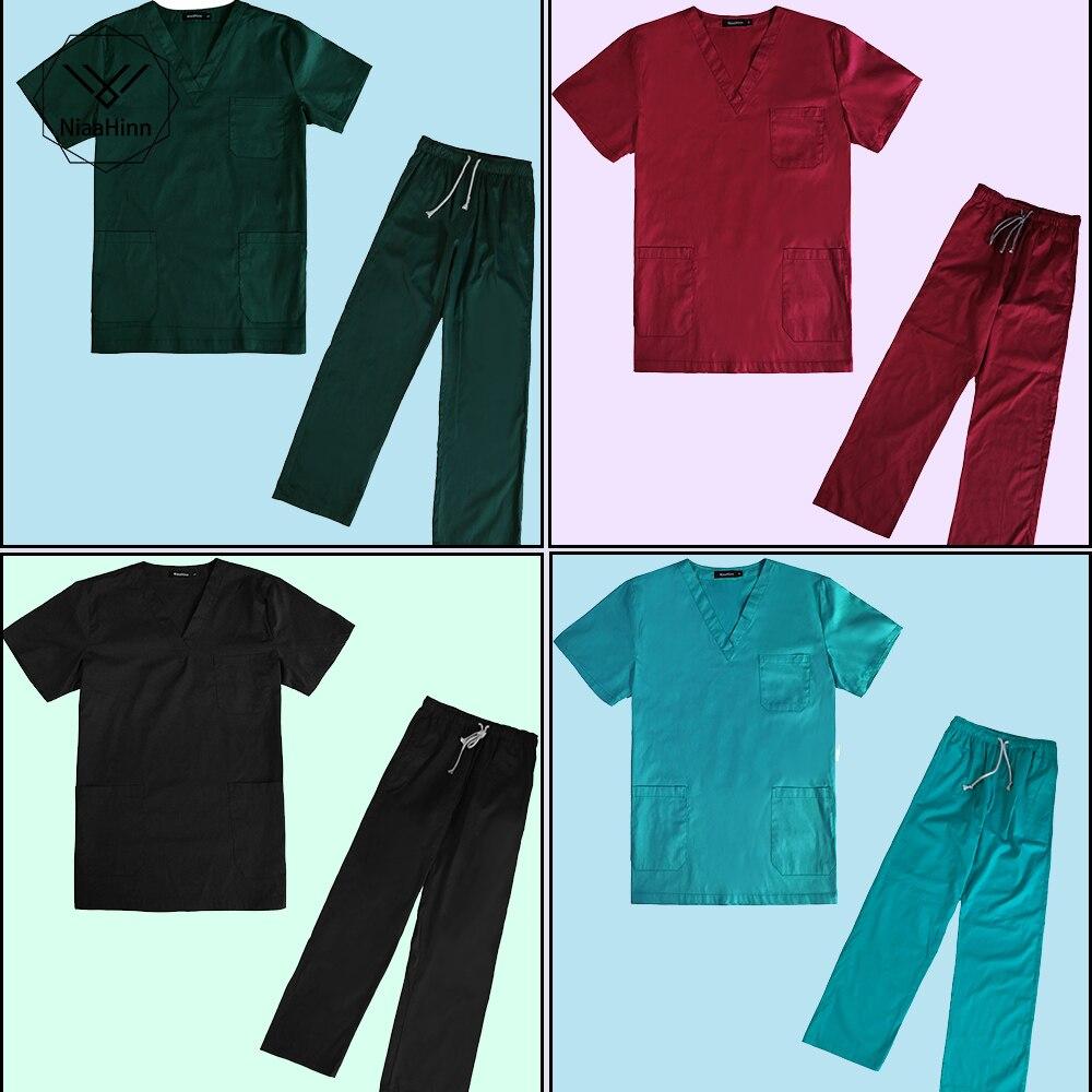Fashion Comfortable Women Medical Uniforms Nursing Clothes Short Sleeve Work Wear V Neck Solid Short Sleeve Nurse Scrubs Uniform