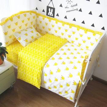 6/9PCS Crown Infant Newborn crib bedding set baby nursery toddler bed Baby Bumper Crib Protector Duvet Sheet 120*60/120*70cm