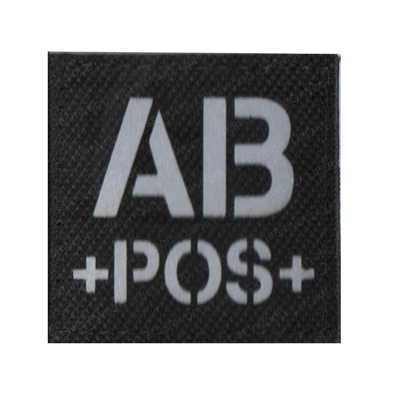 blood type A+ B+ O+ AB+ POS Positive IR patch for backpacks morale tactical patches Reflective luminous  badge with hook loop (5)
