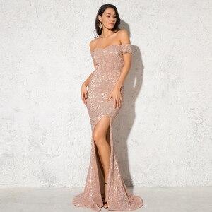 Image 3 - Gümüş Payetli Maxi Elbise Bölünmüş Ön Kapalı Omuz Bodycon Kat Uzunluk Elbise Zarif Mermaid Elbise