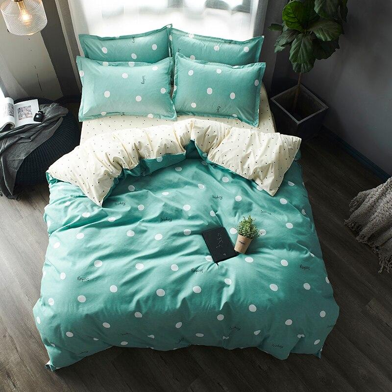 4pcs Bedding Sets Green Cream Reversible Polka Dot Bedclothes Green Duvet Cover Set Kids Boy Girls Microfiber Dotted Quilt Cover