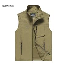 New Men Casual Summer Breathable Large Cotton Sleeveless Vest Multi-Pocket Men Multi-Pocket Camera Vest Oversize