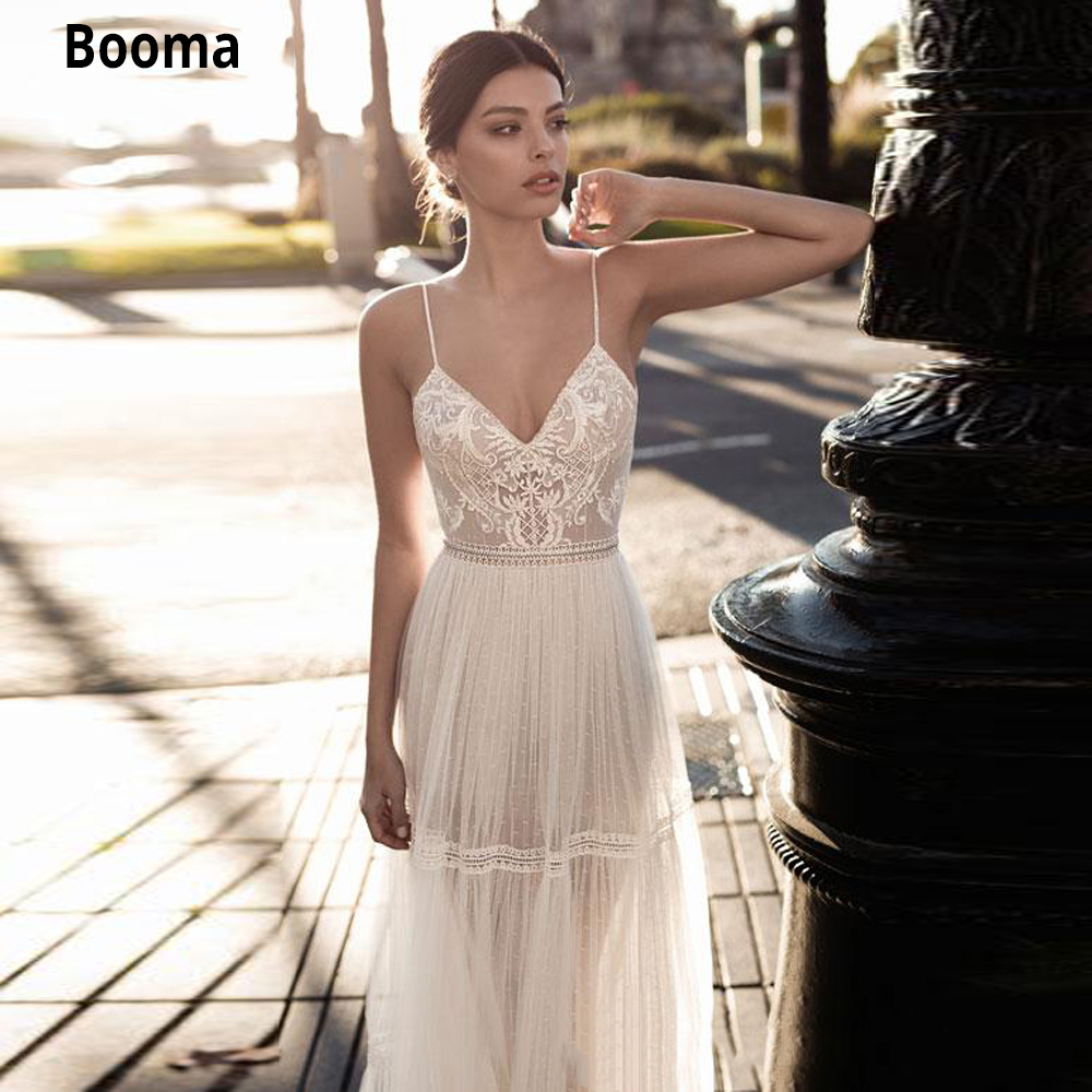 Booma Bohemian Lace Wedding Dresses Vintage Spaghetti Straps Backless Beach Bridal Gown Soft Tulle V-neck Princess Party Gown