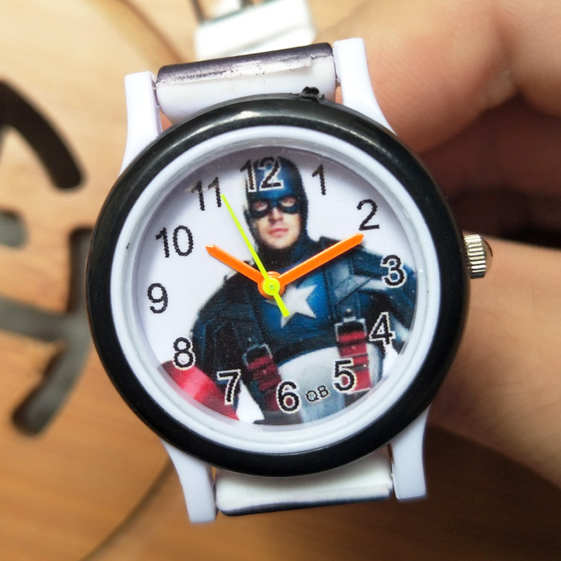 Silicone Colored Strap Kids Watches Boys Wristband America Hero Captain Children Watch For Kid Girls Time Clock Christmas Gift