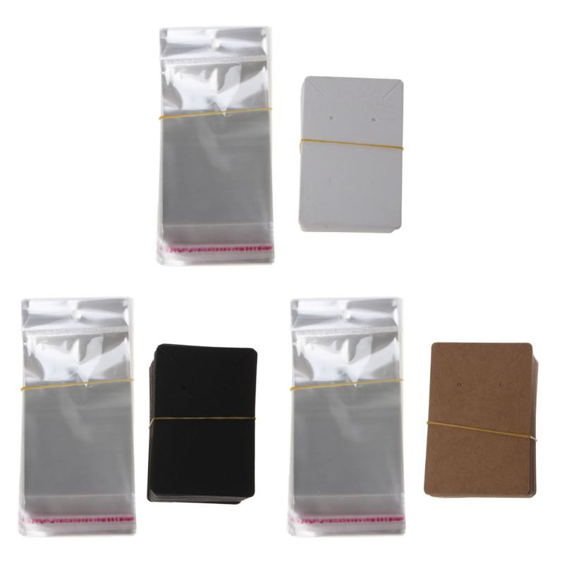 100Pcs Blank Kraft Paper Jewelry Packaging Card Necklace Earring Display Cards Black,White,Brown