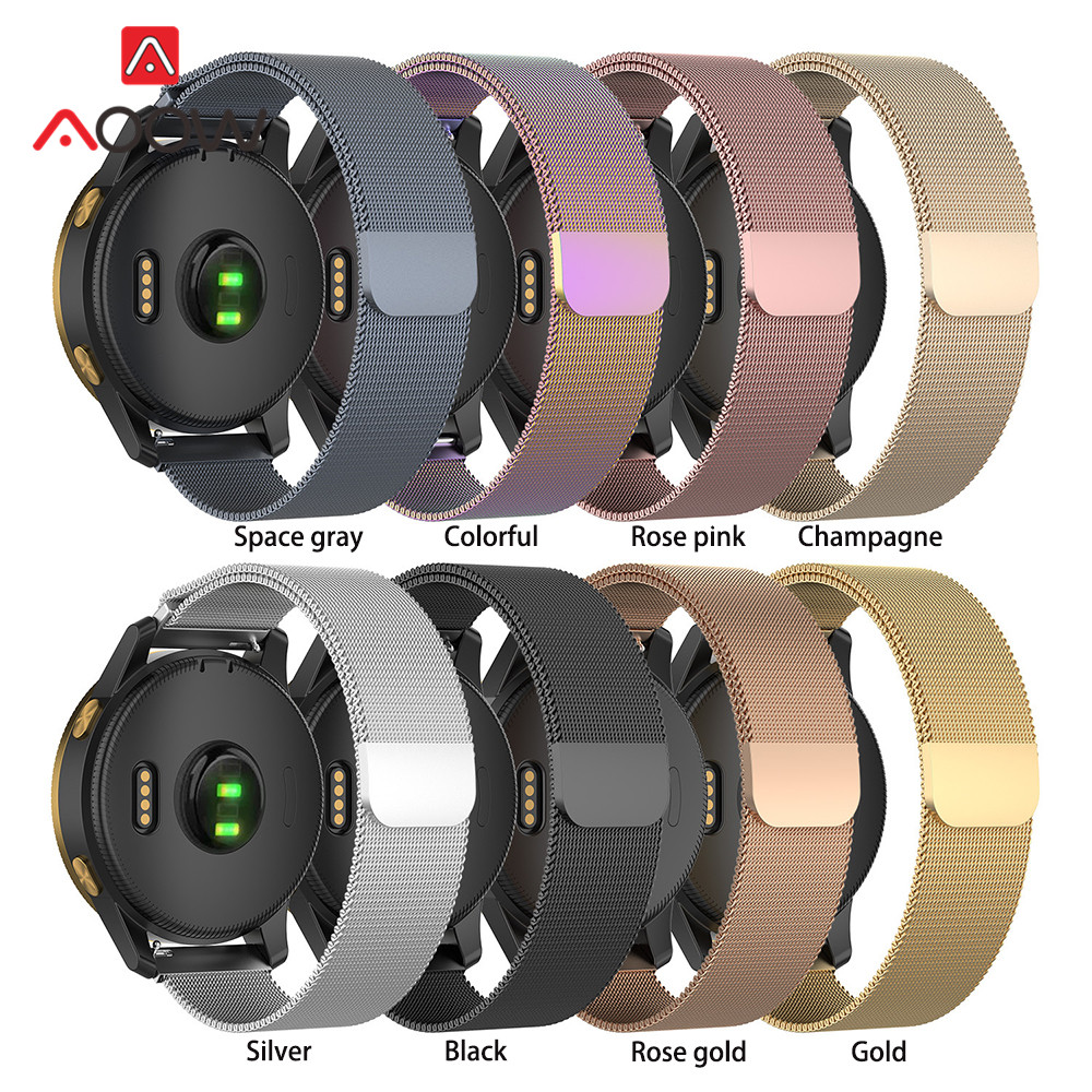 Magnetic Milanese Loop Stainless Steel Band 18mm 20mm 22mm For Samsung Galaxy Watch Active2 S2 S3 Huawei Garmin Strap Bracelet