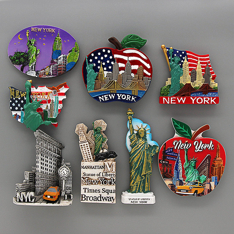 American Tourism New York Statue of liberty Atlantic City Times Square New York City fridge magnet magnetic refrigerator sticker image