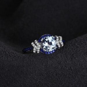 Image 2 - Jewelrypalace красиво площади создания Сапфир 3 Камни кольцо стерлингового серебра 925 Свадебные украшения Юбилей подарки