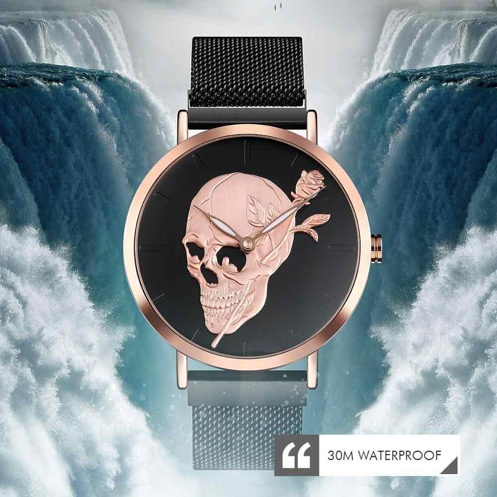 SKMEI hommes montre à Quartz crâne hommes acier maille ceinture squelette montres mâle horloge étanche montre-bracelet lumineux Relogio Masculino