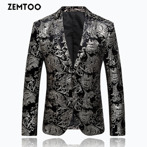 ZEMTOO Men's High-end Formal Suit Gold and Silver Floral Jacket Business Casual Top Wedding Dress FD002