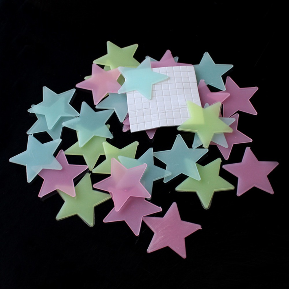 ZLinKJ 100pcs Home Decor Wall Stickers Decal Glow In The Dark Baby Kids Bedroom Color Luminous Stars Fluorescent Wallpaper