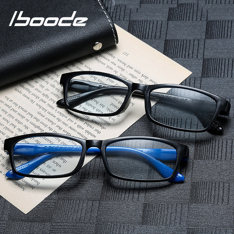 Iboode 2019 New Anti Blue Light Reading Glasses Women Men With Diopters +0.5 1.0 1.5 2.0 2.5 3.0 3.5 Square Presbyopia Glasses