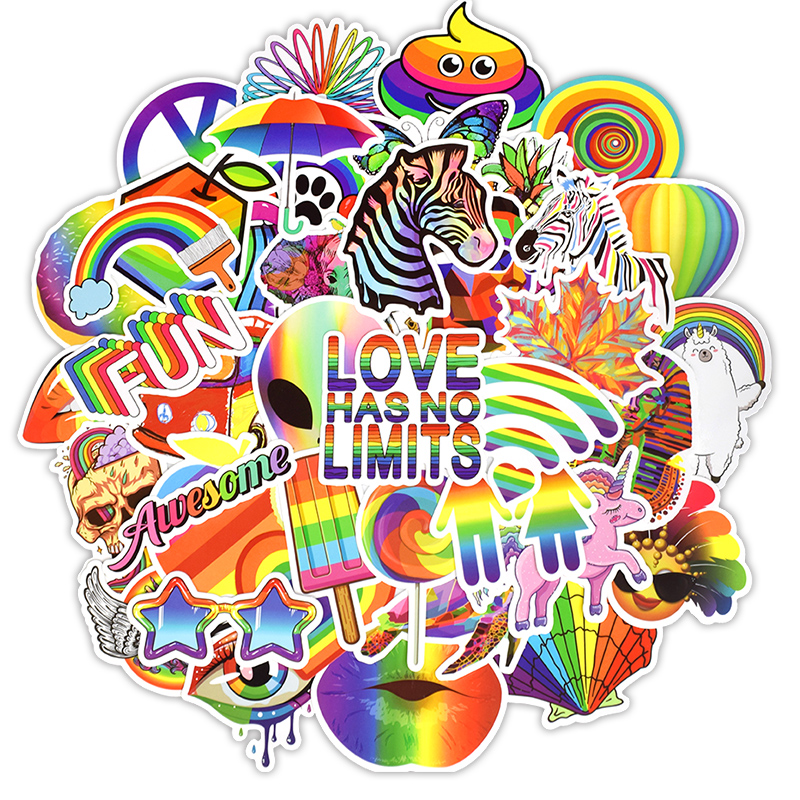 50PCS Fashion Rainbow Sticker Pack Colorful Animal Cute Graffiti Waterproof Stickers For Laptop Guitar Skateboard Suitcase F4