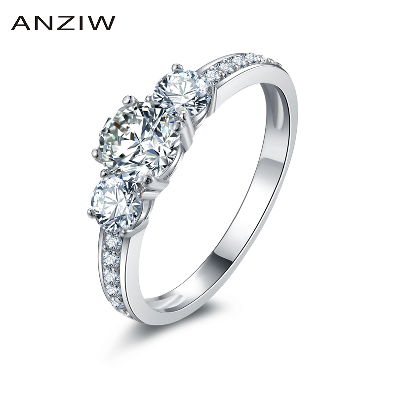 AINUOSHI White Gold Plated 0.8ct Sun flower Round Cut Cubic Zirconia CZ Wedding Engagement Ring Sterling Silver