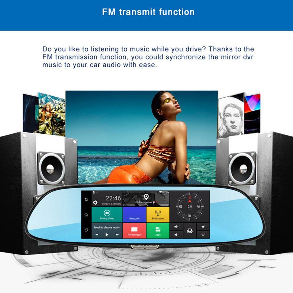 H10 Car DVR 3G Rearview Mirror Video Recorder 7 inch Touch Screen 1080 FHD Dual Camera Hand free FM Transmission - 4