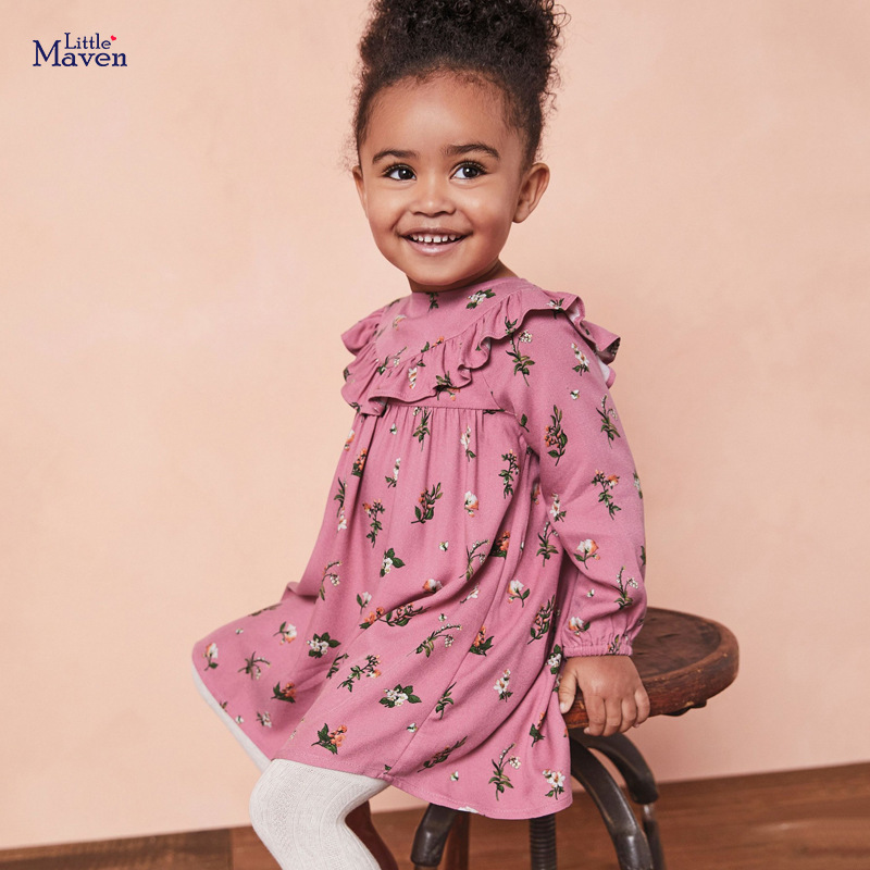 Little maven Girls Flower Print Dress with Falbala style Clothes Fall Children's Clothing Christmas Festive Dress for Girls 3