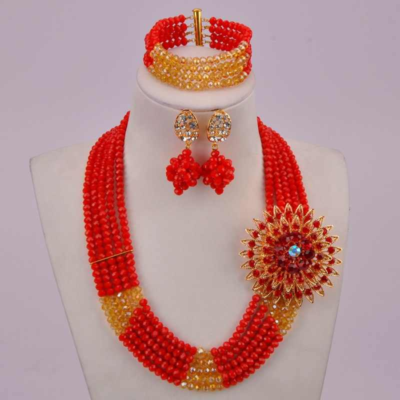 ทึบแสงสีแดงและทองแชมเปญ AB แอฟริกันงานแต่งงานลูกปัดไนจีเรียชุดเครื่องประดับสำหรับผู้หญิง