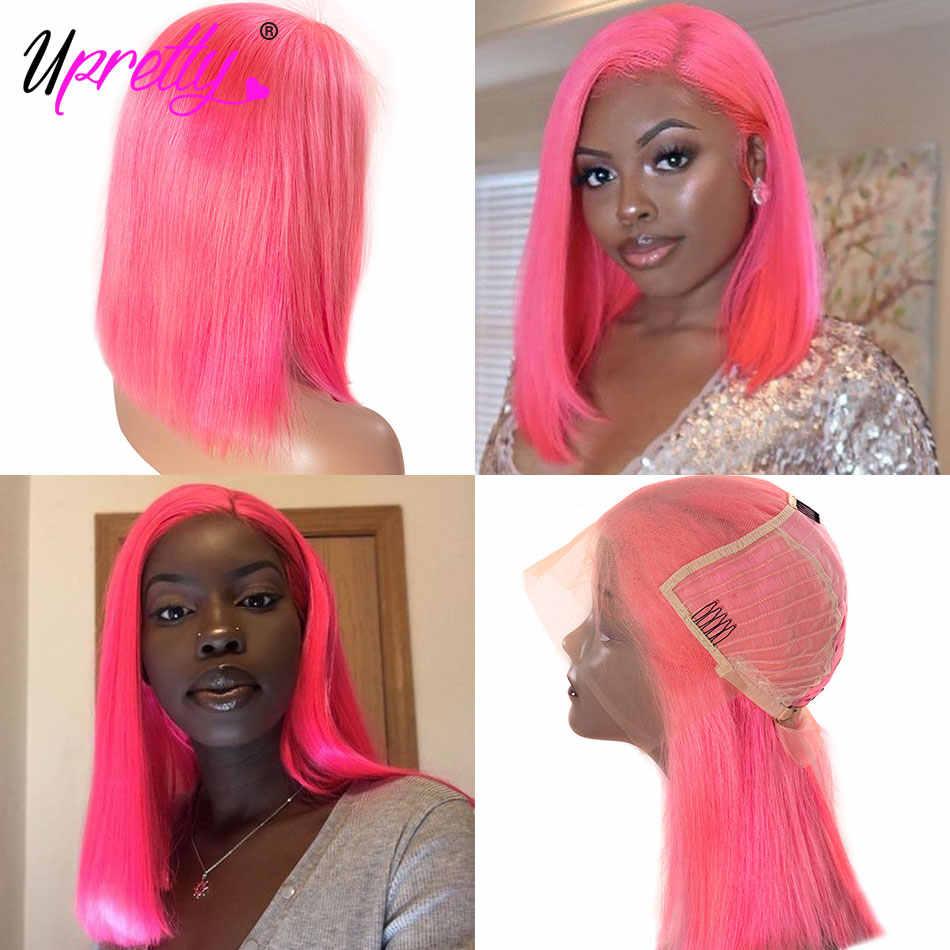 Upretty Haar 613 Blond Bob Pruik 1B Blauw Groen Roze Paars Oranje Grey Ombre Gekleurde Human Hair Pruiken 13x6 rechte Kant Voor Pruik