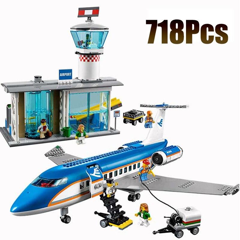 02043 совместимый с Lepining City серия международный аэропорт Аэробус самолёт строительные блоки кирпичи игрушки детские подарки