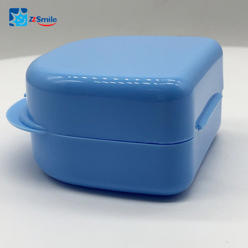 Dental Retainer Case Portable Denture Storage Box Denture Storage Box Andent DB03 Blue Retainer Box-Large size Open from Middle