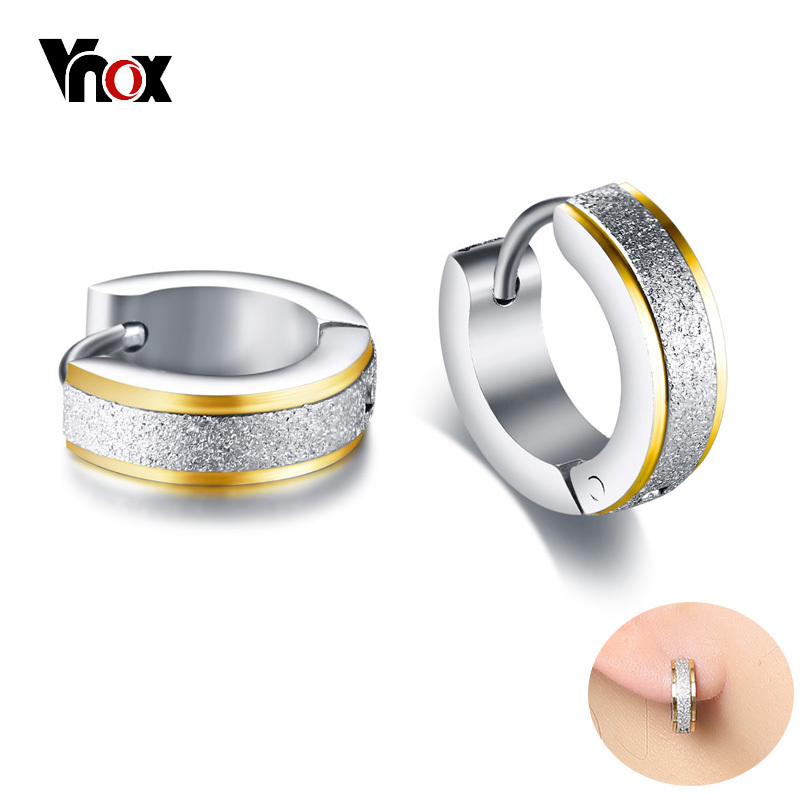Vnox Small Hoop <font><b>Earring</b></font> <font><b>for</b></font> Women Girls Rock Punk Sandblasting Stainless Steel <font><b>Earrings</b></font> <font><b>for</b></font> <font><b>Men</b></font> Male <font><b>Unisex</b></font> Accessories image