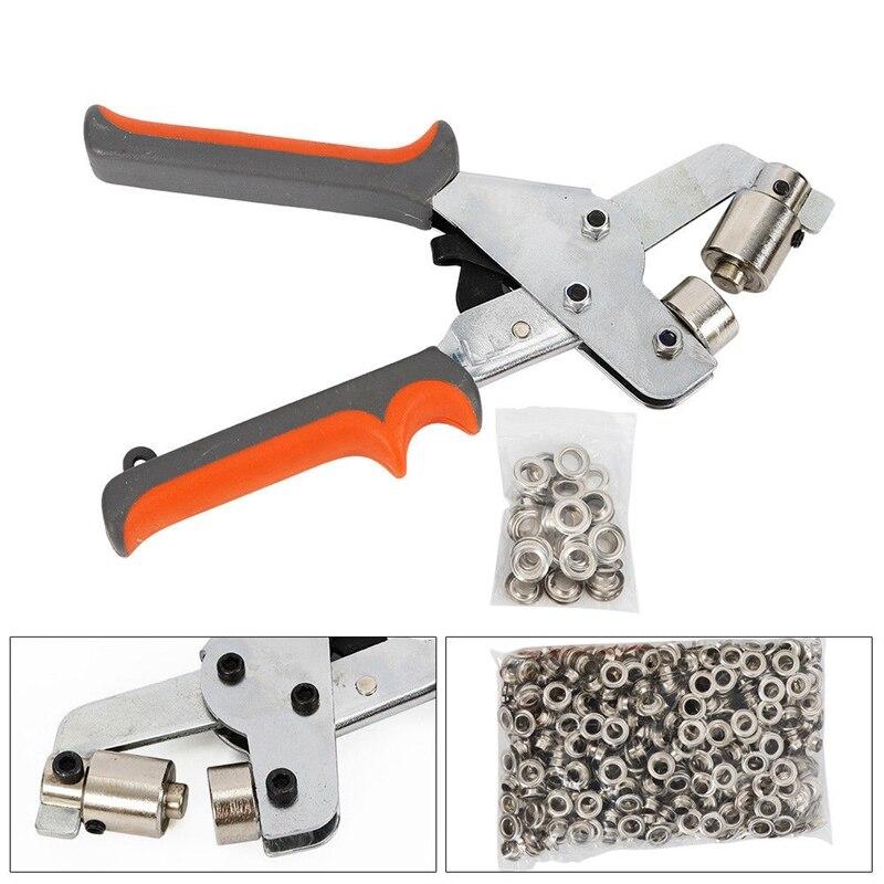 Portable Metal Manual Grommet Machine 500 Grommets Eyelet Hand Press Tool Banner