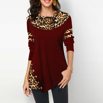 Lotus Leaf Collar Long Sleeve Buttons Leopard Print Stitching Women's T-shirt Spring Autumn Contrast Color Irregular Ladies Top image