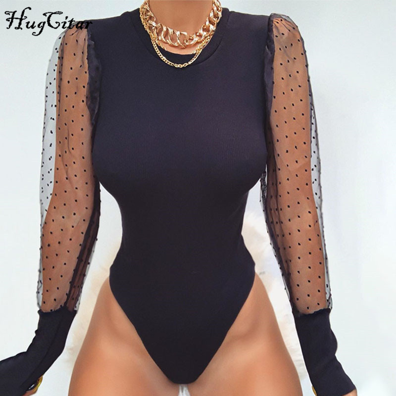 Hugcitar 2019 Long Sleeve Polka Dots Puff Sleeve Mesh Patchwork Sexy Bodysuit Autumn Winter Women Streetwear Outfits Body