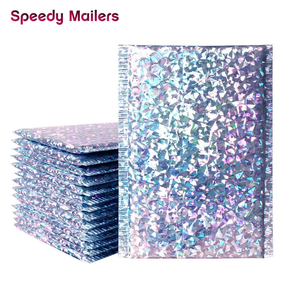 Bolsas de sobres de correo de plata con láser de 10 Uds., bolsas de mensajería impermeables, bolsas de sobres acolchado burbujas para correo con burbujas