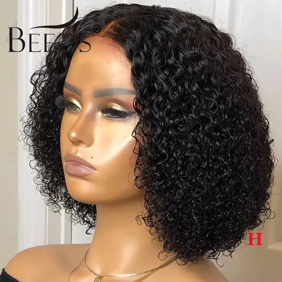 Closure Short Curly Bob Wigs 150% Middle Part Lace Wig Brazilian Human Hair Wigs For Black Women 4×4 Lace Wig Remy Pre Plucked