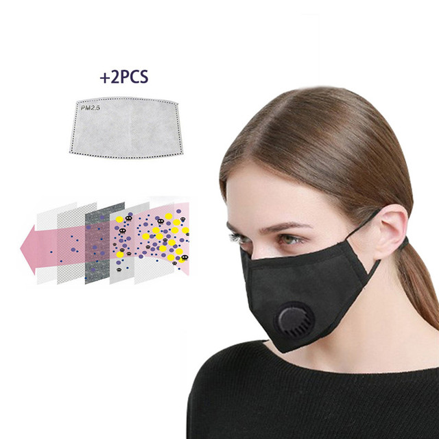 Anti Pollution PM2.5 Washable Black mouth Mask anti dust mask Activated carbon filter Windproof Mouth- bacteria Flu Face masks 1