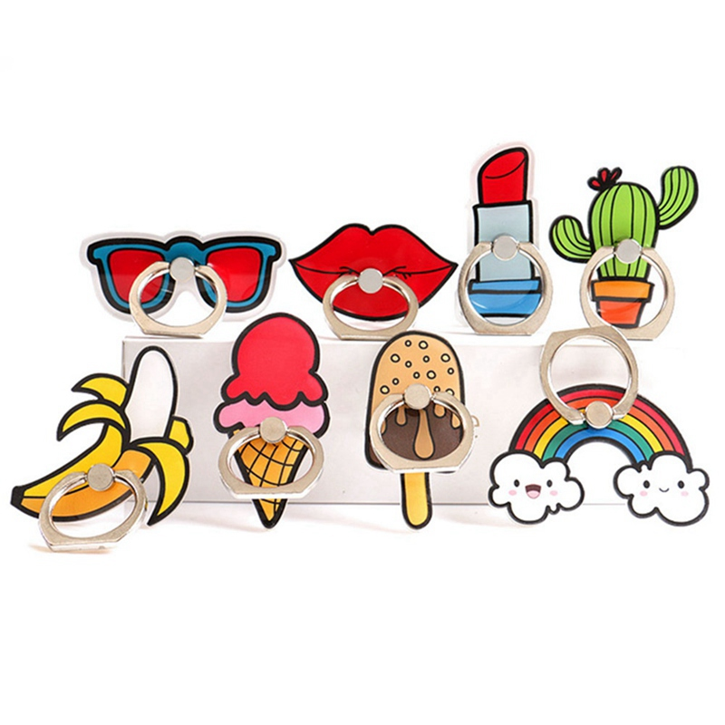 1PC Cartoon Red lips Ice Cream Rainbow Cactus Mobile Phone Finger Ring Holder Bracket Cute Accessories For Mobile Phone