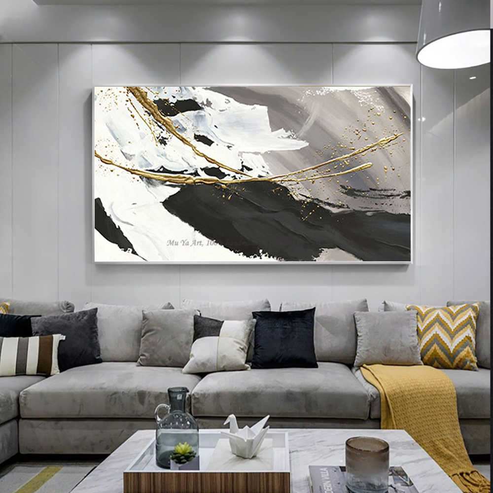 Hand Painted Oil Painting Canvas Abstract Black And White Gold Modern Art Acrylic Paintings Large Wall Art For Living Room Decor Painting Calligraphy Aliexpress