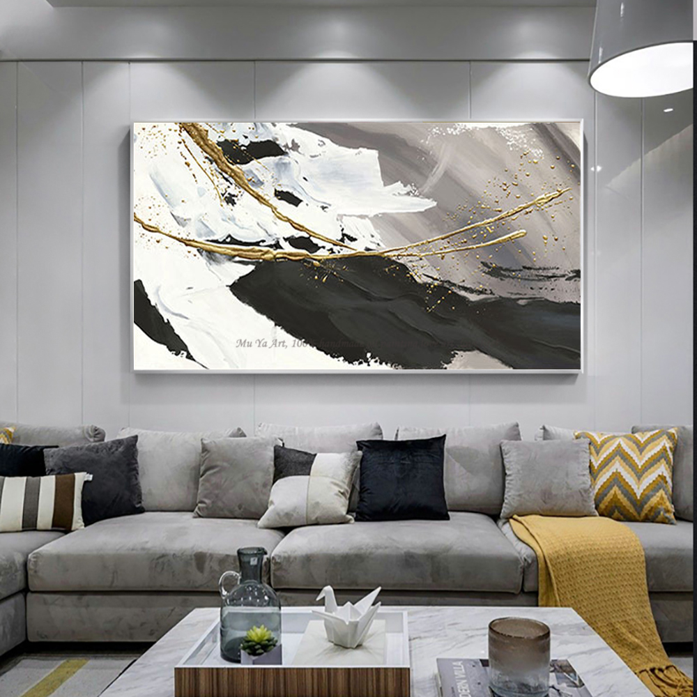 Hand painted oil painting canvas abstract black and white gold 