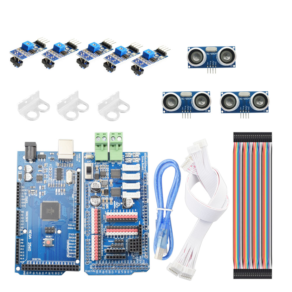 Arduino Smart Line-Tracking Obstacle Avoidance Mecanum Wheel Car Chassis Kit Line Patrol DIY Robot Parts Kit