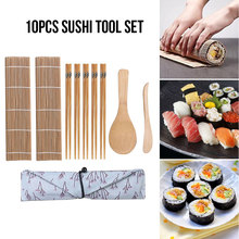 9pcs/set Sushi Maker Tool Set Rice Roller Sushi Mold Plate Rolling DIY Kichen Cooking Gadget Roll Leaf Machine bento accessories sushi rolling making tool