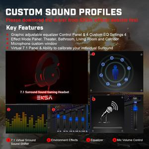 Image 4 - EKSA E900 Pro Virtual 7.1 Gaming Headset Wired Headphones Over Ear Headset Gamer With Noise Isolated Mic For PS4/PC/ Xbox/ Phone