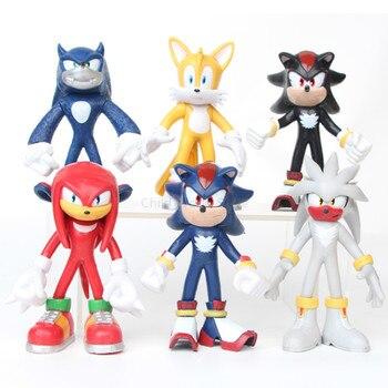 6PCS Sonic Figure Super Sonic The Hedgehog Shadow Tails Cartoon Sonic Characters 12cm PVC Action Figure Kids Toys for Children недорого