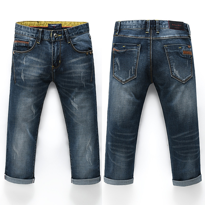 Summer Men's Jeans Shorts Cropped Trousers For Men Retro Faded Slim Fit Elasticity Skinny Pants Men's Trousers