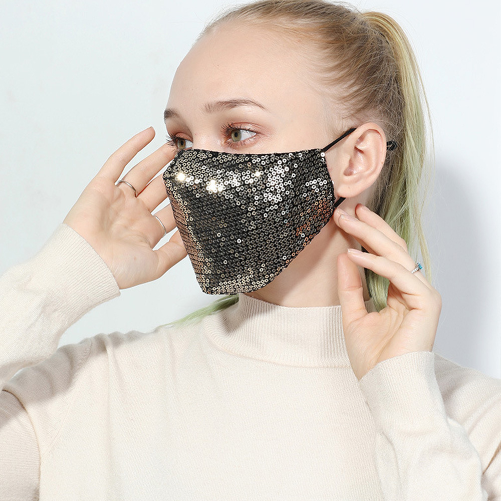 Fashion Sequins Washable Mask Protective Mouth Face Mask Unisex Breathable Mouth Respirator