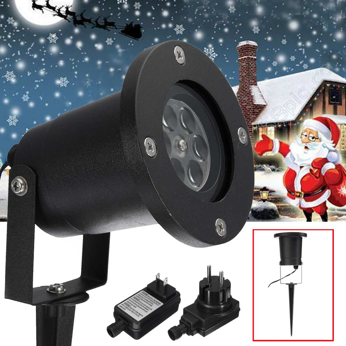 1Set Outdoor Garden Laser Fairy Light Projection Projector  Snow Landscape LED Lamp Stage Lights
