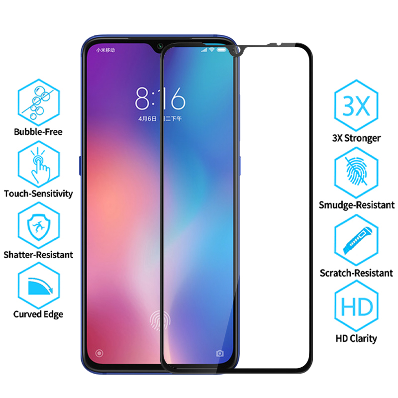 Protective Glass For Redmi 7 Screen Protector On Redmi7 Full Glue Cover Tempered Safety Film Glas Remi7 M1810F6LG 6.26''