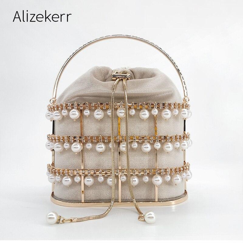 Pearl Beaded Evening Clutch Bag Women Luxury Designer Rhinestone Party Purse Ladies Diamond Velvet Handbags High Quality Fashion